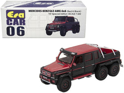 "Mercedes Benz G63 AMG 6x6 Pickup Truck Red and Black ""1st Special Edition"" 1/64 Diecast Model Car by Era Car"