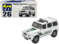 Mercedes Benz G-Class Dubai Police Car White and Green 1/64 Diecast Model Car by Era Car