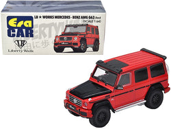 Mercedes-Benz AMG G63 LB Works Wagon Red with Carbon Hood 1/64 Diecast Model Car by Era Car