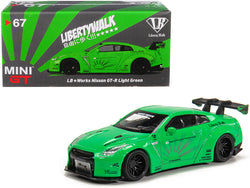 "Nissan GT-R (R35) Type 1 LB Works ""LibertyWalk"" Light Green with Rear Wing ""Hobbiestock Exclusive"" 1/64 Diecast Model Car by True Scale Miniatures"