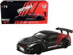 "Nissan GT-R (R35) Type 2 RHD (Right Hand Drive) LB Works ""LibertyWalk"" with Rear Wing Version #3 Black and Red ""ADVAN"" ""Japan Exclusive"" 1/64 Diecast Model Car by True Scale Miniatures"