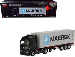 "Mercedes Benz Actros with Trailer and 40' Container ""Maersk"" Black and Gray 1/64 Diecast Model by True Scale Miniatures"