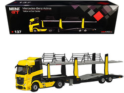 Mercedes Benz Actros with Car Carrier Trailer Transporter Yellow 1/64 Diecast Model by True Scale Miniatures