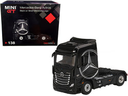 Mercedes Benz Actros Truck Tractor Black with Silver Mercedes Logo 1/64 Diecast Model by True Scale Miniatures