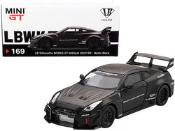 Nissan 35GT-RR Ver. 1 LB-Silhouette WORKS GT RHD (Right Hand Drive) Matte Black and Carbon 1/64 Diecast Model Car by True Scale Miniatures