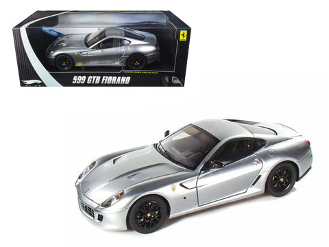 Ferrari 599 GTB Fiorano Elite Edition Silver 1/18 Diecast Model Car by Hotwheels