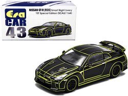 "Nissan GT-R (R35) RHD (Right Hand Drive) Smart Night Livery Black with Yellow Stripes ""1st Special Edition"" 1/64 Diecast Model Car by Era Car"