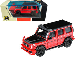 Mercedes AMG G63 Liberty Walk Wagon Red with Black Hood and Top 1/64 Diecast Model Car by Paragon