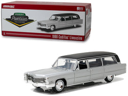"1966 Cadillac S&S Limousine Silver with Black Top ""Precision Collection"" Limited Edition to 396 pieces Worldwide 1/18 Diecast Model Car  by Greenlight"