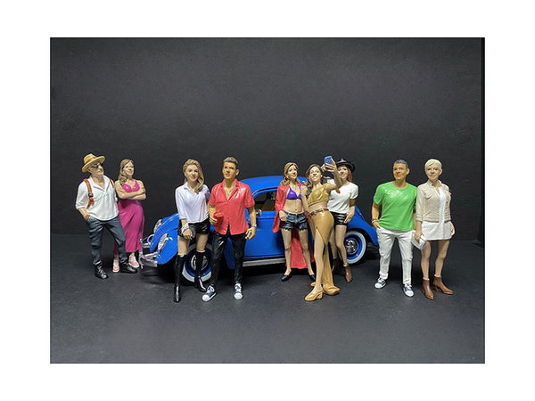 """Partygoers"" (9 Piece Figure Set) for 1/18 Scale Diecast Models by American Diorama"