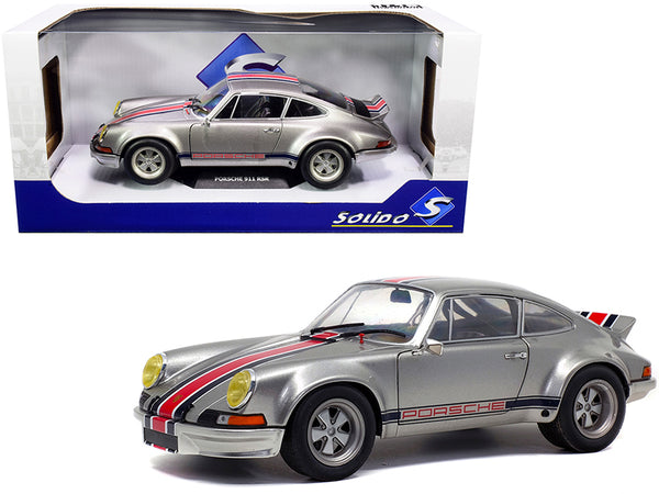 "Porsche 911 RSR Silver Metallic with Stripes ""Backdating Outlaw"" 1/18 Diecast Model Car by Solido"