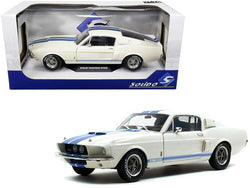 1967 Ford Mustang Shelby GT500 White with Light Blue Stripes 1/18 Diecast Model Car by Solido