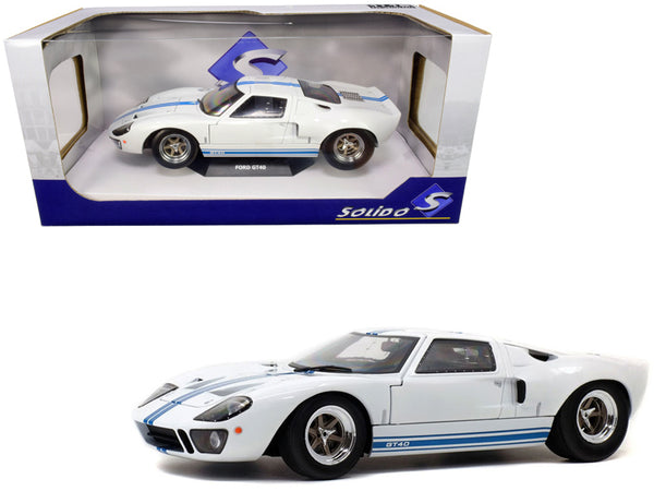 Ford GT40 Widebody White with Blue Stripes 1/18 Diecast Model Car by Solido