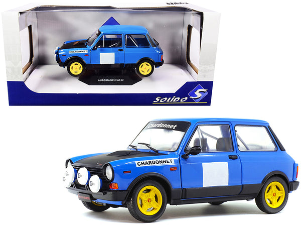 "1980 Autobianchi A112 Abarth Blue ""Chardonnet"" Rally Car 1/18 Diecast Model Car by Solido"