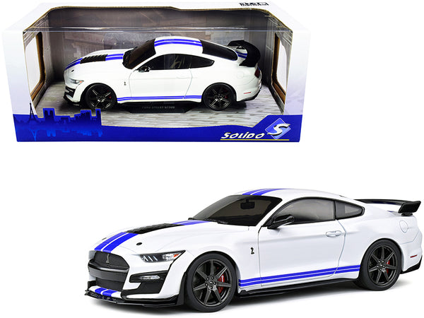 2020 Ford Mustang Shelby GT500 White with Blue Stripes 1/18 Diecast Model Car by Solido