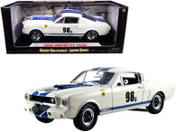 "1965 Ford Mustang Shelby GT350R #98B ""Terlingua Racing Team"" White with Blue Stripes 1/18 Diecast Model Car by Shelby Collectibles"