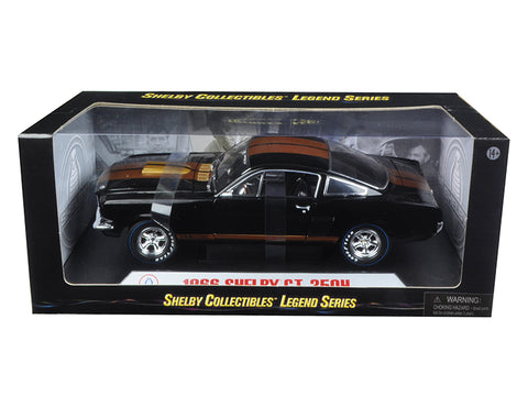 "1966 Shelby Mustang GT350H ""Hertz"" Black with Gold Stripes 1/18 Diecast Model Car by Shelby Collectibles"
