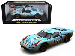 1966 Ford GT-40 MK 2 Gulf Blue Dirty Version #1 1/18 Diecast Model Car by Shelby Collectibles