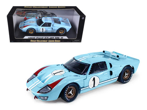 1966 Ford GT40 MK II  Light Blue #1 1/18 Diecast Model Car by Shelby Collectibles