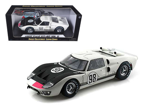 1966 Ford GT-40 MK 2 #98 White 1/18 Diecast Model Car by Shelby Collectibles