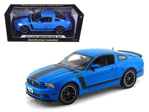 2013 Ford Mustang Boss 302 Blue with Black Stripes 1/18 Diecast Model Car by Shelby Collectibles