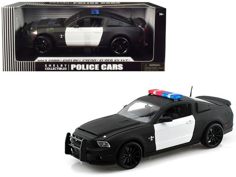 2012 Ford Shelby Mustang GT500 Super Snake Unmarked Police Car Black/White 1/18 Diecast Model Car by Shelby Collectibles