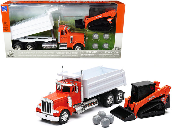 "Peterbilt Dump Truck ""Kubota"" Orange and White with Kubota SVL95-2s Compact Track Loader Orange and Black and Boulders (2 Piece Set) 1/32 Diecast Models by New Ray"