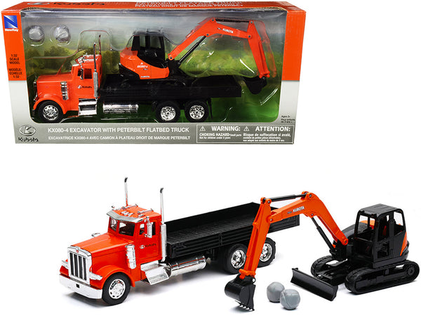 "Peterbilt Flatbed Truck ""Kubota"" Orange and Black with Kubota KX080-4 Excavator Orange and Black and Boulders (2 Piece Set) 1/32 Diecast Models by New Ray"