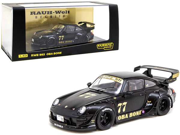 "Porsche RWB 993 #77 ""Oba Bone"" Matte Black ""RAUH-Welt BEGRIFF"" 1/43 Diecast Model Car by Tarmac Works"