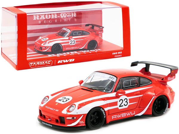 "Porsche RWB 993 #23 ""RWBWU"" Red with White Stripes ""RAUH-Welt BEGRIFF"" 1/43 Diecast Model Car by Tarmac Works"