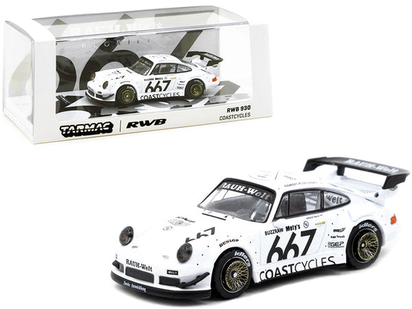 "Porsche RWB 930 #667 ""Coastcycles"" White 1/64 Diecast Model Car by Tarmac Works"