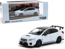 Subaru WRX STi S208 Cool Gray Khaki with Carbon Top 1/64 Diecast Model Car by Tarmac Works