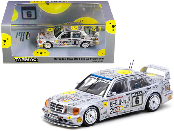 "Mercedes Benz 190E 2.5-16 Evolution II #6 Keke Rosberg ""Deutsche Tourenwagen Meisterschaft"" DTM (1992) 1/64 Diecast Model Car by Tarmac Works"