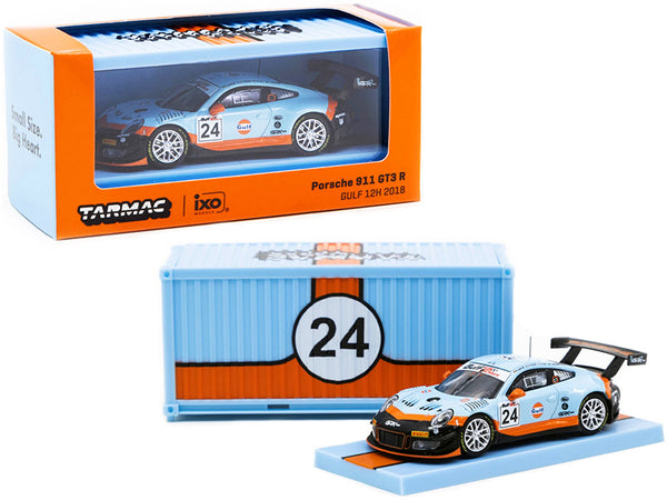 "Porsche 911 GT3 R #24 Gulf 12 Hours (2018) with Container ""RAUH-Welt BEGRIFF"" 1/64 Diecast Model Car by Tarmac Works"