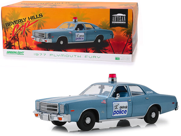 "1977 Plymouth Fury Blue ""Detroit Police"" ""Beverly Hills Cop"" (1984) Movie 1/18 Diecast Model Car by Greenlight"
