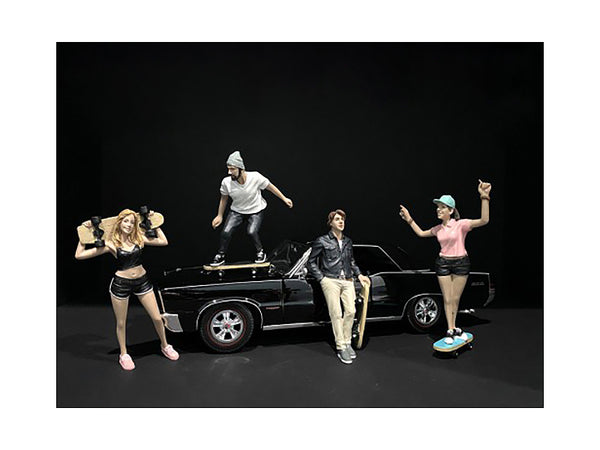 """Skateboarders"" Figures (4 Piece Set) for 1/18 Scale Models by American Diorama"
