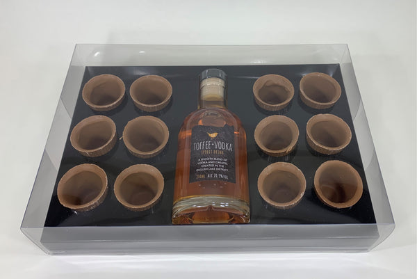 12 Edible Chocolate Shot Glasses + 200ml Kin Toffee Vodka