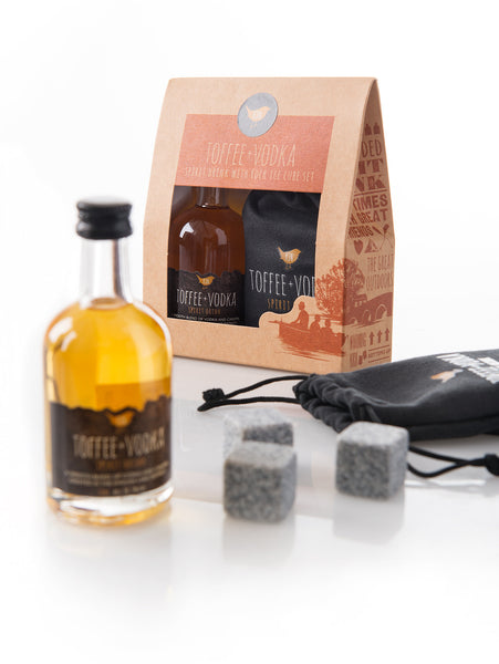 Kin Vodka Gift Set - Toffee or Toffee Apple 50ml bottle & Rock Ice Cubes