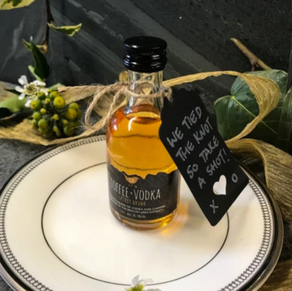 Wedding Favour Miniatures (100 bottles or more) - Includes a FREE 500ml Bottle of Toffee Vodka the happy couple to share