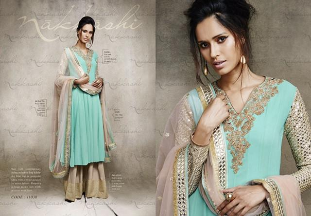 Nakkashi Party wear Design 11030 - Asian Suits Online