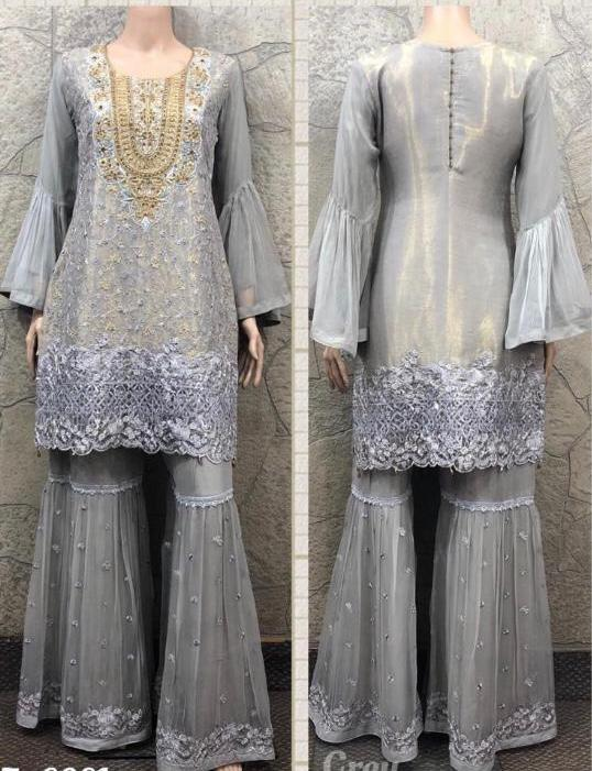 EID Sharara Embroidery Design ES234B - Asian Suits Online