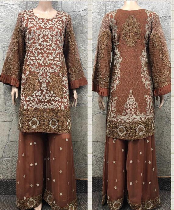 EID Sharara Embroidery Design EM249 - Asian Suits Online