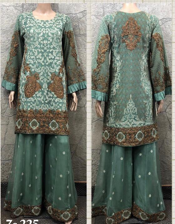 EID Sharara Embroidery Design EM252 - Asian Suits Online
