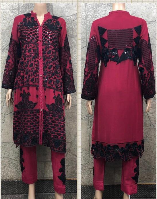 EID Inspired Embroidery work Design EM268 - Asian Suits Online