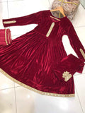 Velvet Winter Frock with Mirror Design RVM3180