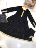 Velvet Winter Frock with Mirror Design RVM3183