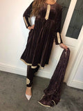 Velvet Winter Frock with Mirror Design RVM3182