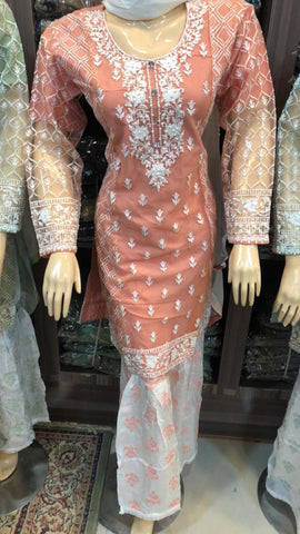 Net Sharara Embroidery Design NS102