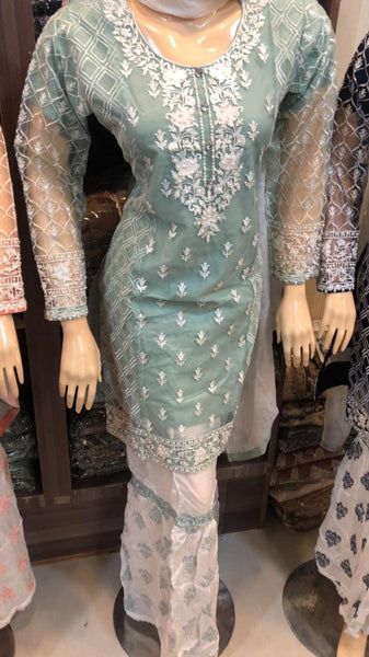 Net Sharara Embroidery Design NS103