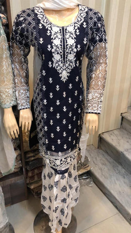 Net Sharara Embroidery Design NS104